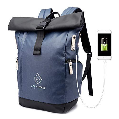 ZOE Voyage Rolltop Rucksack, wasserdicht, Tagesrucksack mit Laptopfach und USB Ladeanschluss, Reiserucksack blau-schwarz 21-31l