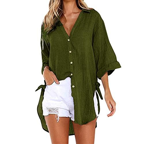 Magliette Donna estive Bluse Donna estive Bluse Donna Eleganti Particolari Bluse Donna Manica Corta Bluse Donna Eleganti Taglie Forti Bluse Donna estive Taglie Forti ( XXL,Verde )