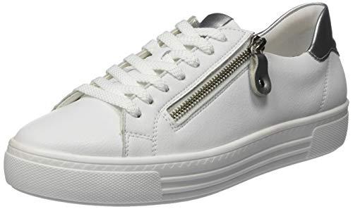 Remonte Damen D0903 Sneaker, Weiß (Weiss/Silver 80), 42 EU