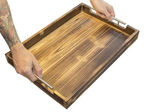 Genussfabrik - Das robuste Tablett aus Holz - Serviertablett im Vintage-Stil mit Edelstahlgriffen für Geschirr I Getränke I Frühstückstablett I Serviertablett I Deko Tablett