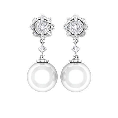 Rosec Jewels - Pendientes florales con diamante HI-SI de 1/4 quilates, 12 quilates, 9 mm, perlas de agua dulce 14K Oro blanco, Par