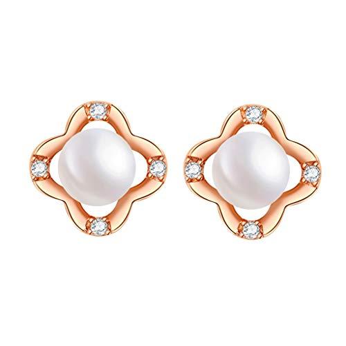 OMING Arete Pendientes de Perlas de Plata del trébol de Invierno Temperamento Anillos de Mujer pequeñas Pendientes Simples Pendiente de Perlas de Cristal (Color : A)