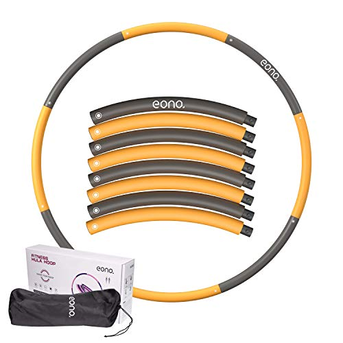 Eono by Amazon - Fitness Hula Hoop 1.2kg- Perdita Peso Hula Hoop Design a 8 Sezioni Rimovibile in Larghezza Regolabile (73-98cm)