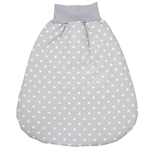 TupTam Baby Unisex Strampelsack mit breitem Bund Wattiert, Farbe: Sternchen Grau/Weiß, Größe: 6-12 Monate