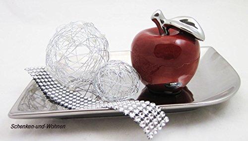 Moderne Skulptur Dekofigur Apfel aus Keramik Rot Höhe 10 cm