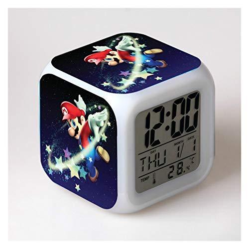 JSJJAYU Reloj despertador Super Mario Bros para niños, reloj digital de dibujos animados con luz LED (color: 9)