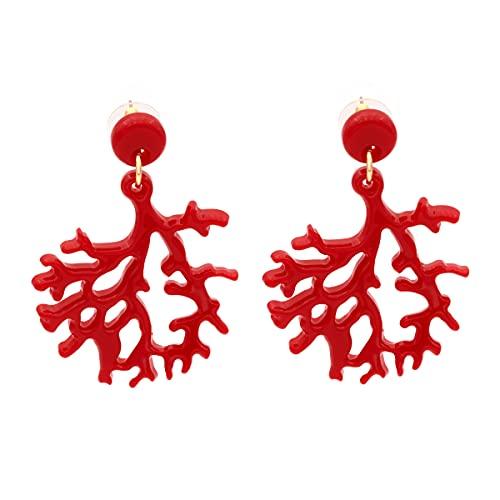 Colours & Beauty Pendientes de mujer con forma de ramas de coral rojo de resina acrílica | Pendientes de mujer de verano de colores | pendientes grandes