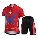 L PATTERN Traje de Ciclismo para Niños Niñas Conjunto de Bicicleta Conjunto de Maillot y Pantalones Cortos con 3D Gel Acolchado para Deportes al Aire Libre,Rayo Rojo (Traje),12 años