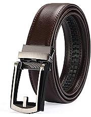 ベルト オートロック メンズ 革 ビジネス 紳士 ベルト式 バックル OUKEY 穴無し レザーベルト カジュアル 本革 大きいサイズ サイズ調整可能 ブラック 125cm ギフトBOX付け