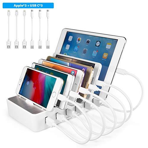 TechDot Handy USB Ladestation Ladestation Mehrere Geräte 6 Port USB Multi Ladestation für Handys Smartphones Tablets (mit 6 Kurze Mini Kabel, Weiß)