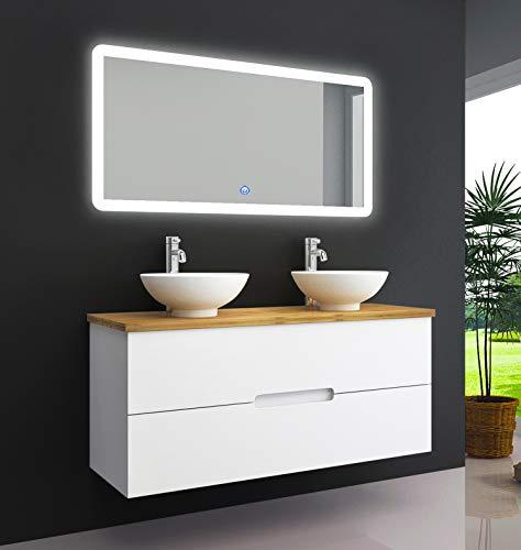 OIMEX TAMBUS 120 cm Bambus Echtholz Designer Badmöbel Set Waschtisch Unterschrank mit 2 Waschbecken mit Spiegel Hochglanz Weiß 2 Schubladen, Größe: Waschtisch mit Waschbecken, Armaturen, LED Spiegel