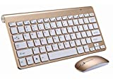 Ultra Thin Slim 2.4 GHz DPI wireless Keyboard &:Optical Mouse Combo Set Kit with USB Nano Receiver for Windows and for Mac (Gold)
