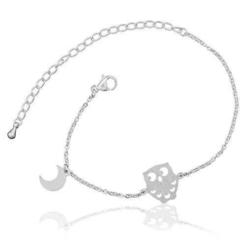 Selia Halbmond Armband Eule Armreif Moon minimalistische Optik Liebe handgemacht Edelstahl (Silber)