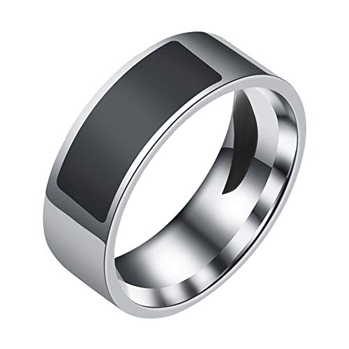 LUYANhapy9 NFC Ring, Waterproof Stainless Steel Multifunctional NFC Intelligent Digital Smart Ring for Android Window Black US 11