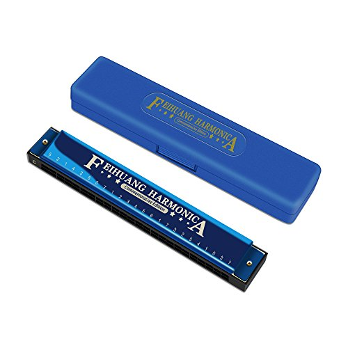 Harmonica for Beginners, 24 Holes Double Tremolo Armonica Profesional with Case for Professional Player,Beginners,Students,Children,Kids Birthday Present