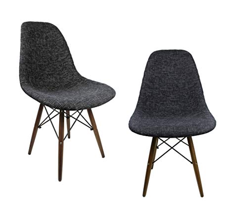 Mid-Century Modern Woven Fabric Upholstered Accent Side Dining Chair with Dark Walnut Wood Eiffel Legs Set of 2 (Black)