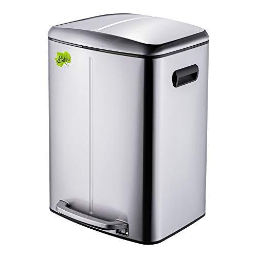 Made for us® 40 L Edelstahl Tret-Abfalleimer 2x20 L Mülleimer 2 Fächer für Küchen, 2-fach Mülltrennung m. 2 Inneneimern, 2er Müll-Trennsystem 40 Liter Abfallsammler Duo-Treteimer mit Deckel