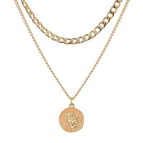 Collar Cadena Gruesa Broche De Palanca Collares De Oro Collares Circulares Enlazados Mixtos para Mujeres Gargantilla Minimalista Collar Joyería Calien