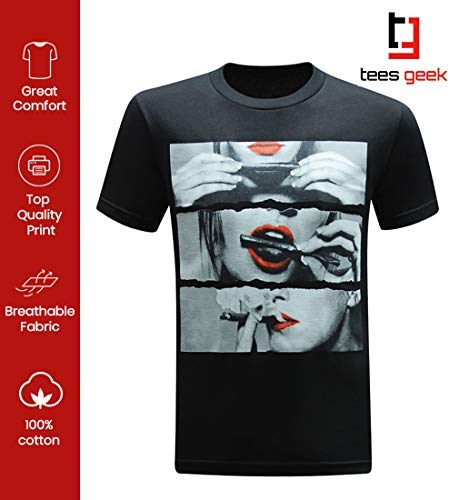 tees geek Roll It Lick It Smoke It Marijuana Pot Weed Men's T-Shirt - (X-Large) - Black
