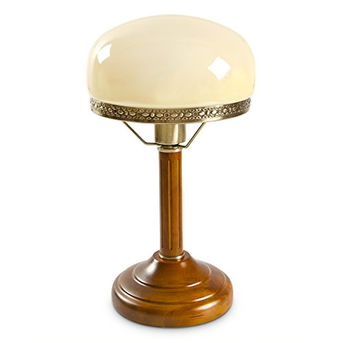 Relaxdays Tischlampe Rund Holzfuß Nostalgie Jugendstil Look, beige/messing-optik 10016611
