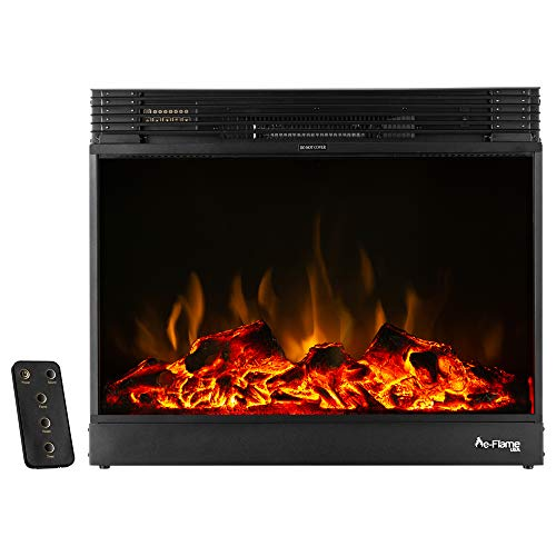 e-Flame USA Vermont Electric Fireplace Stove Insert with Remote Control - 3-D Effects and Crackling Fire (Black) -  EF-BLT16