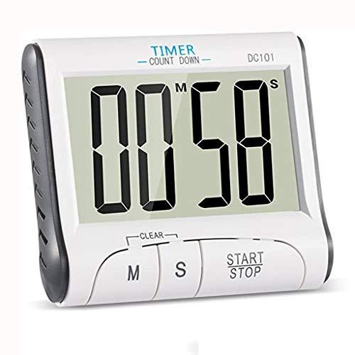 Temporizador de Cocina magnética Pantalla Reloj de Cocina con Pantalla LCD de Tamaño Retráctil Soporte (Color : White)