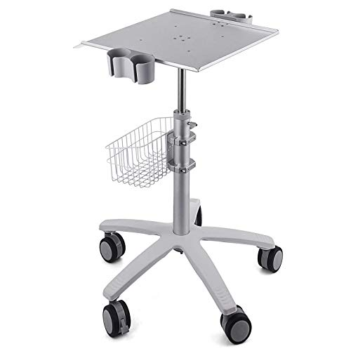 VEVOR Mobile Trolley Cart for Portable Ultrasound Imaging Scanner System Mobile Rolling Cart 16.5X15.7 Large Tabletop to Hold Rolling Desktop Mobile Cart Height Adjustable 29.5-41.3