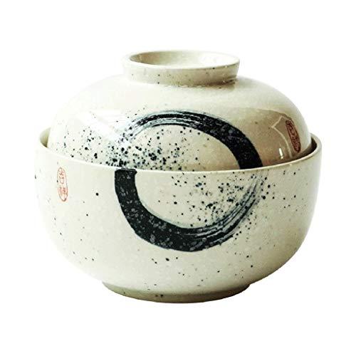 Tazón Viento chino de cerámica de 6,5 pulgadas, un tazón cubierta - ensalada de frutas/pastas/cereales/C/cosecha de mesa Soup Bowl vajillas hogar, tazón retro