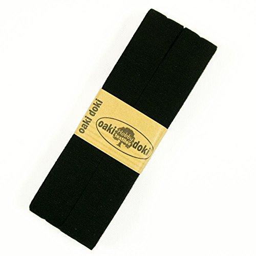 Oaki doki uni Jersey Schrägband Einfassband 3 m schwarz Öko-Tex Viskosejersey - Preis gilt für 1 Stück = 3 Meter