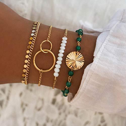 Handcess Pulsera de lentejuelas de estilo bohemio, con doble círculo, de oro, cadena de mano, accesorios de mano punk para mujeres y niñas (4 piezas)