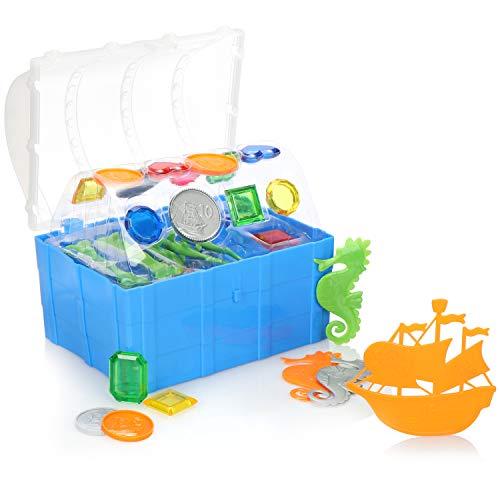 com-four® 28-teiliges Tauch-Spielzeug - Pool-Spielzeug für Kinder - Badespielzeug zum Tauchen für Pool, Badewanne, Strand (28-teilig - Schatzkiste)