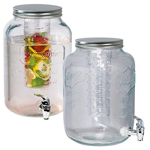 Getränkespender aus Glas (Fassungsvolumen 8 Liter) mit Eis- und Früchteeinsatz