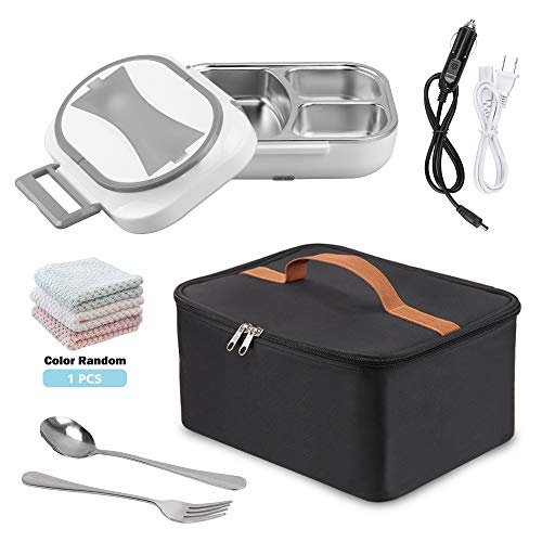 Electric Lunch Box, 12V 110V Dual Use Heating Bento Food Heater for Car Home Office, Portable Meal Lunch Heater Food Warmer with Insulation Bag Cooler Reusable Tote Bag and Stainless Steel Container