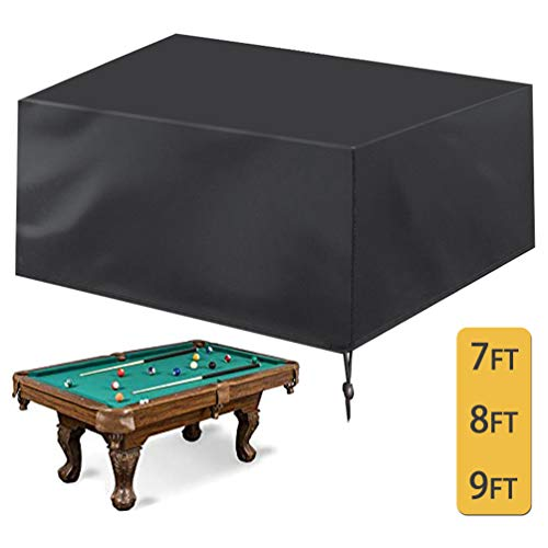 Oslimea Pool Table Cover, 7 8 9ft Billiard Pool Table Covers with Drawstring Durable Waterproof Table Cover for Snooker Billiard Table   Rectangle Table (8ft: 103x53x32 in)