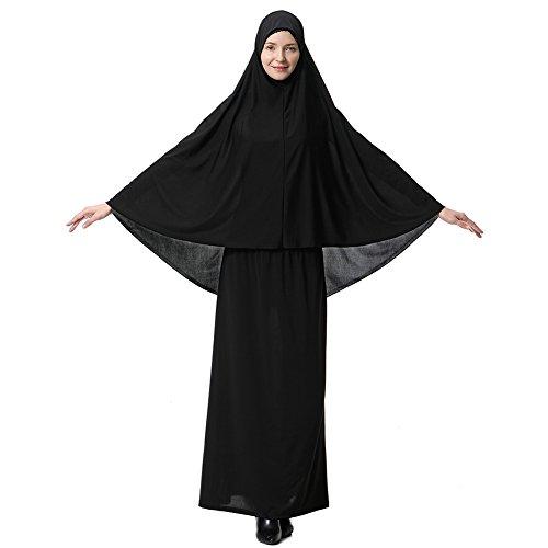 Hougood Abaya Muslim Damen Muslimische Kleider Islamische Kleidung Zweiteiler in voller L?nge Hijab Kleid Robe Anzug Abaya Schal Kleid Robe Kleid Gebet Kleid Top und Dress Sets