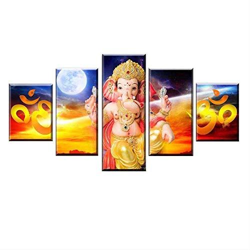 DGGDVP HD-druk 5 stuks Indian olifant Head Lord Ganesha schilderij canvas kunst beeld modulaire poster woonkamer decoratie 30x40cmx2 30x60cmx2 30x80cmx1 Met frame.