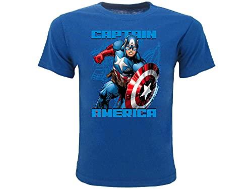 Marvel Camiseta de Capitán América Original Super Héroe Avengers para niño turquesa 3-4 Año