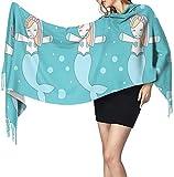 anemone store - Pañal de sirena con unicornio para mujer, para invierno, cálido, largo, suave, cachemira, bufanda