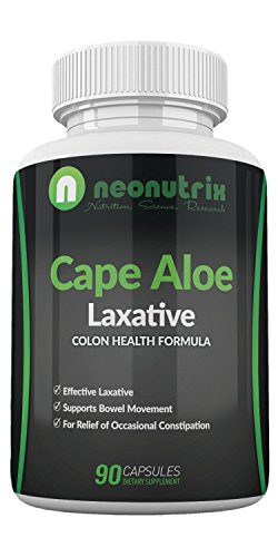 Cape Aloe Natural Laxatives for Constipation Relief- Promotes Healthy Bowel Movement- Supplement for Men & Women - Herbal Detox - 90 Capsules - Made in The USA by Neonutrix