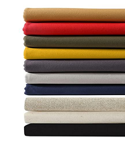 100% tela de lona de algodón, 16 onzas de peso, 7 colores sutiles y apagados para decoración del hogar y tapicería ligera, Neotrims UK. [Black, 297gsm, 1Mt]