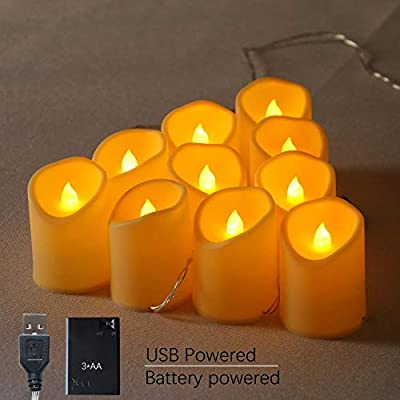 YXYQR Flameless Candles LED String Fairy Lights Battery Operated/USB Plug in Electric 4.9FT 10 Flickering Candles for Indoor Bedroom Living Room Table Fireplace Decoration (Extendable)