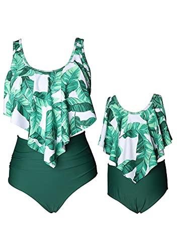 EFOFEI Mommy and Me Badeanzüge Bikini-Set Damen Familie Bikini Set Plissee-Rüsche Bademode Outfit Set 2 Stüc Grünes Blatt 10-12 Jahre