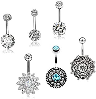 6pcs/set Piercing Jewelry Umbilical Ring Tassel Navel Nail Nightclub Exposed Navel Stainless Steel Belly button LU25