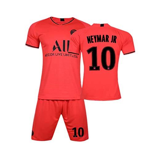PAOFU-Herren Jungen Neymar 10# Fans Fußball Trikot Sets,19-20 Paris Saint-Germain Soccer Jerseys T-Shirts Und Shorts,Rot,11 Years