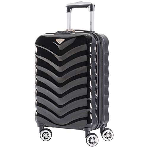 Flight Knight Lightweight 8 Wheel ABS/Polycarbonate Suitcases Cabin Carry On Hand Luggage Approved For Over 100 Airlines - Cabin Black Gloss FFK06_BKGL_S