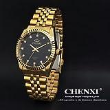 Armbanduhren Chenxi goldene Mode Herrenuhr Edelstahl Quarz (Farbe : Schwarz, Großauswahl : Einheitsgröße)