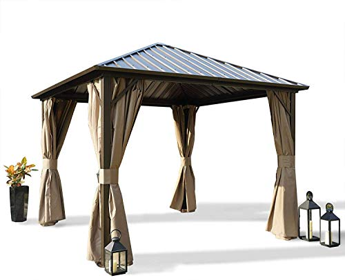 Kozyard Rosana Hardtop Aluminum Permanent Gazebo with 2-Layer...