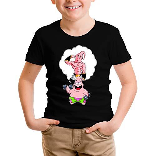 OKIWOKI Dragon Ball Z - Spongebob Schwammkopf Lustiges Schwarz Jungen Kinder T-Shirt - Patrick Star und Majin Boo (Dragon Ball Z - Spongebob Schwammkopf Parodie signiert Hochwertiges T-Shirt in Grö
