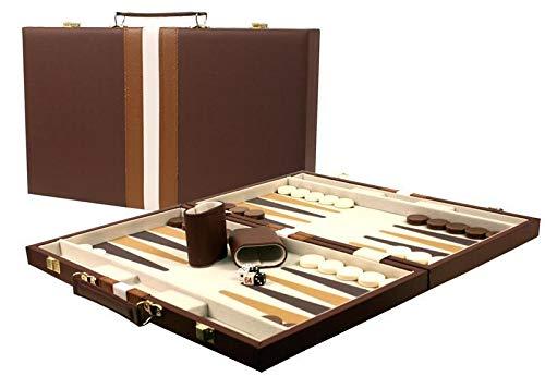 "Large 18"" Leatherette Backgammon Set - Brown"