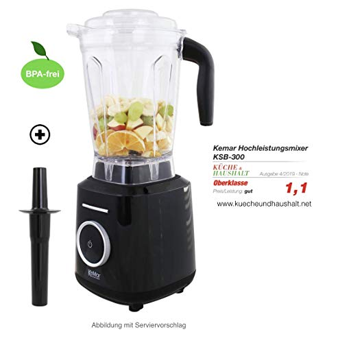 KeMar Kitchenware KSB-300 Standmixer | Hochleistungsmixer | Mixer | Touch Bedienung | 2 Liter | BPA-frei |6 Programme (Schwarz Metallic)